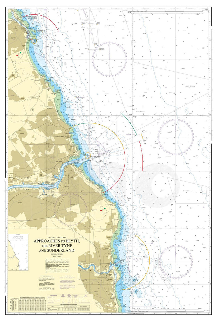 Nautical Chart - Admiralty Chart 1935 - Approaches to Blyth, the River Tyne and Sunderland