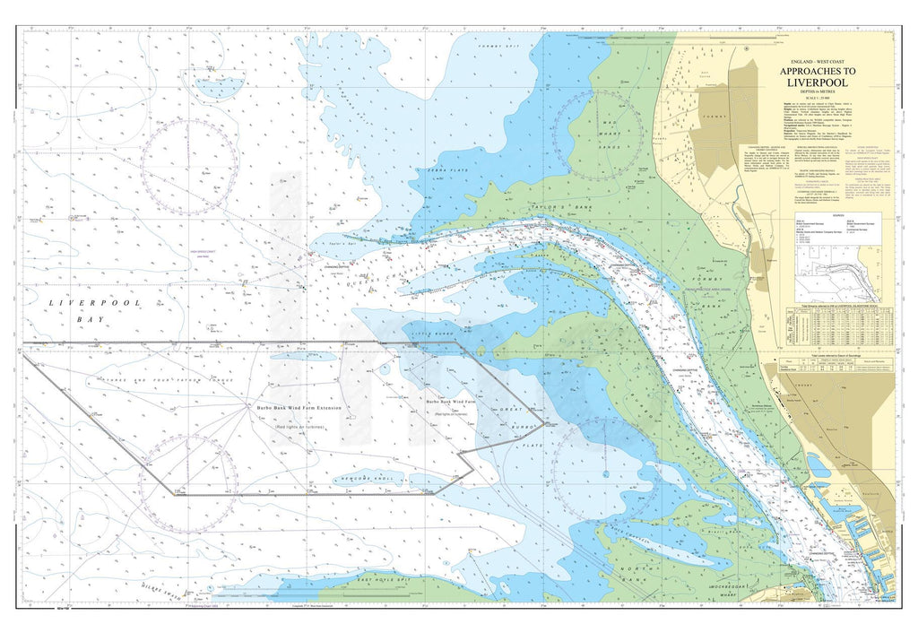 Nautical Chart - Admiralty Chart 1951 - Approaches to Liverpool