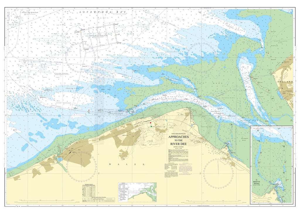 Nautical Chart - Admiralty Chart 1953 - Approaches to the River Dee