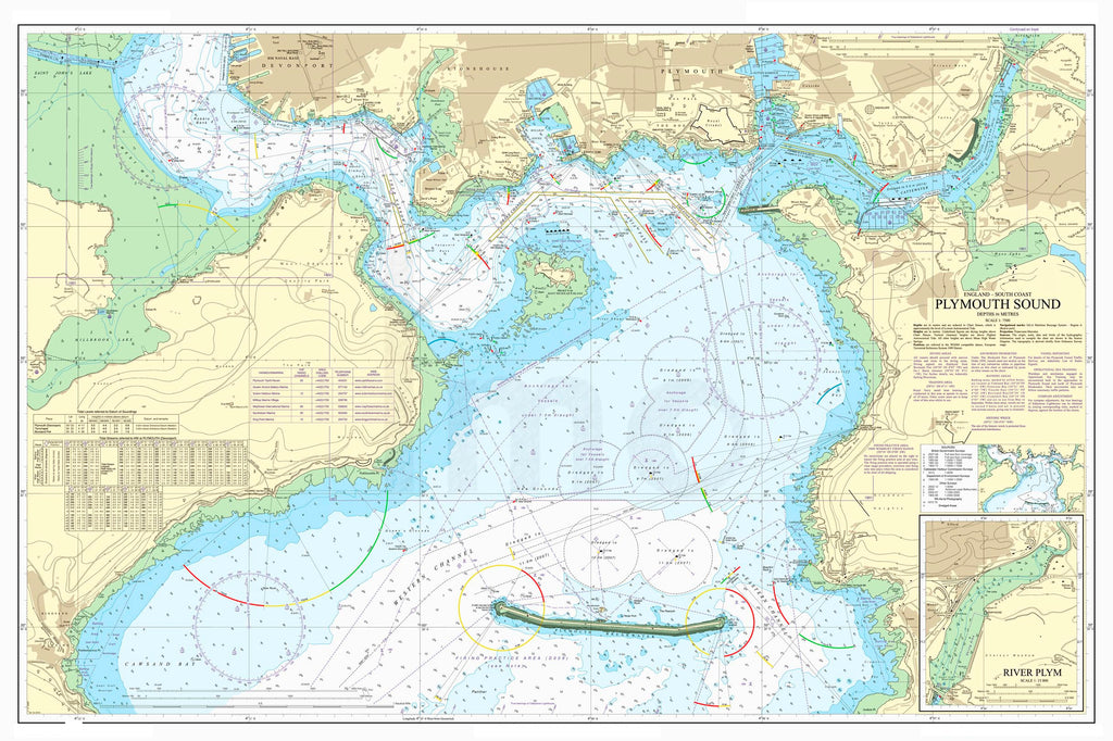 Nautical Chart - Admiralty Chart 1967 - Plymouth Sound