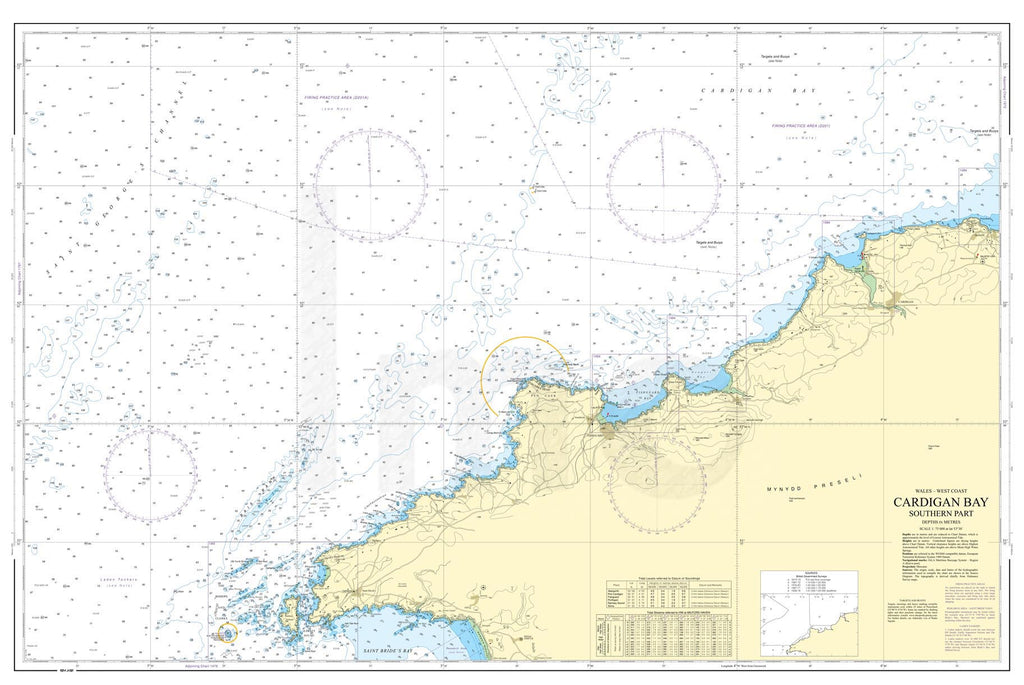 Nautical Chart - Admiralty Chart 1973 - Cardigan Bay Southern Part
