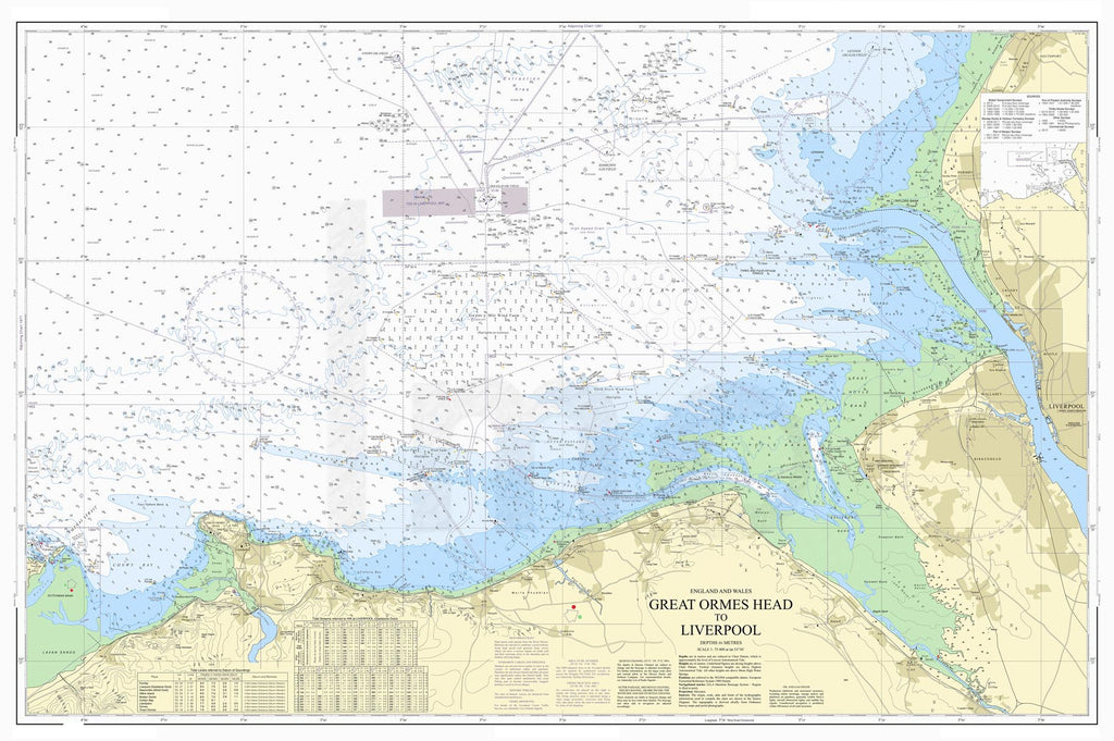 Nautical Chart - Admiralty Chart 1978 - Great Ormes Head to Liverpool.