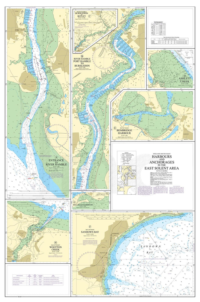 Nautical Chart - Admiralty Chart 2022 - Harbours and Anchorages in the East Solent Area