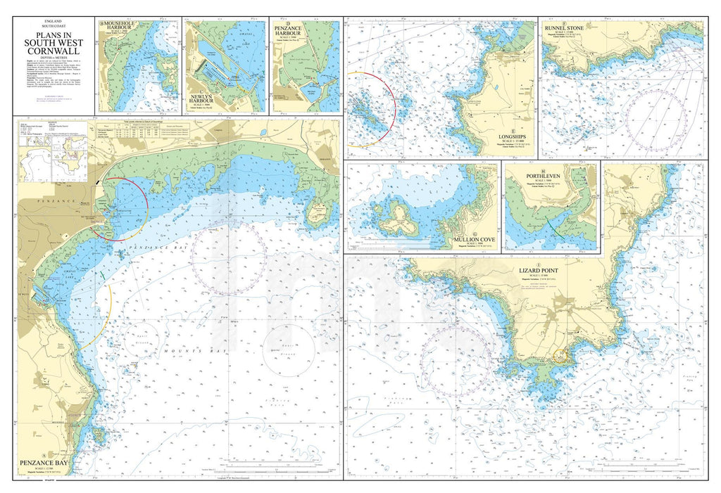 Nautical Chart - Admiralty Chart 2345 - Plans in South West Cornwall