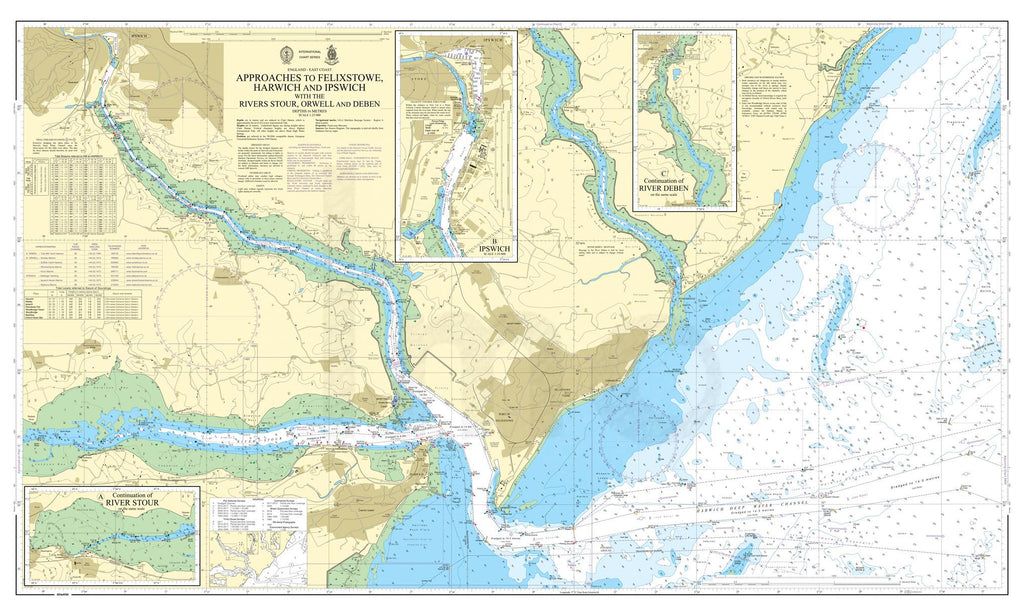 Nautical Chart - Admiralty Chart 2693 - Approaches to Felixstowe, Harwich and Ipswich with the Rivers Stour, Orwell and Deben
