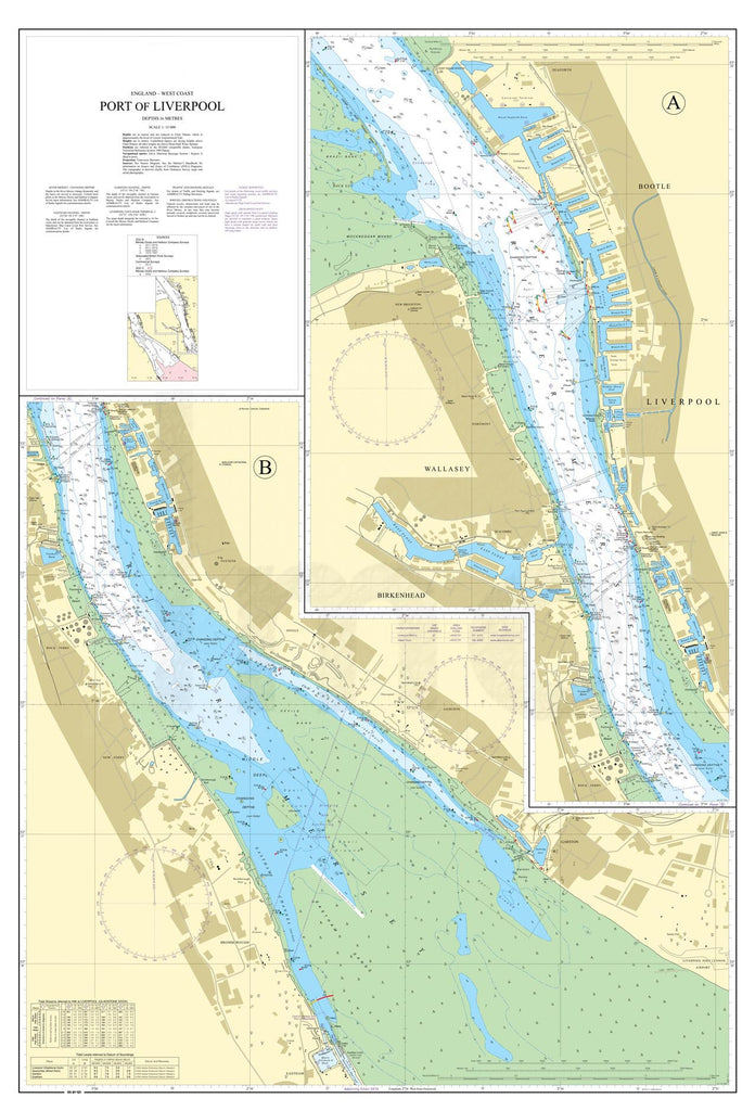 Nautical Chart - Admiralty Chart 3490 - Port of Liverpool