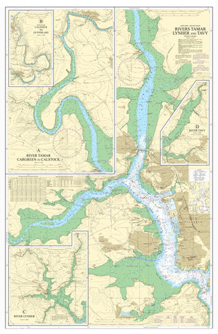 Nautical Chart - Admiralty Chart 871 - Rivers Tamar Lynher and Tavy