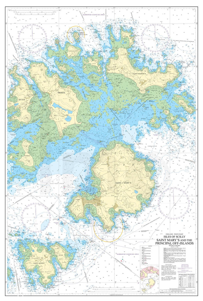 Nautical Chart - Admiralty Chart 883 - Isles of Scilly Saint Mary's and the Principal Off-Islands