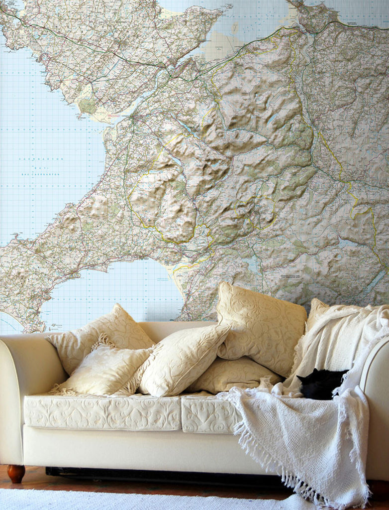 Map Wallpaper - Custom Ordnance Survey Landranger Map with Hillshading - Love Maps On... - 1