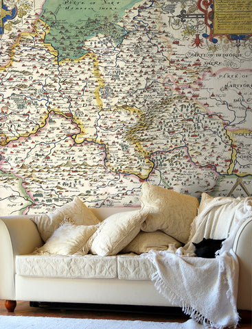 Map Wallpaper - Vintage County Map - Oxfordshire, Berkshire and Buckinghamshire