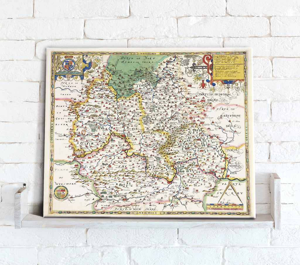 Map Canvas - Vintage County Map - Oxfordshire, Berkshire and Buckinghamshire - Love Maps On...