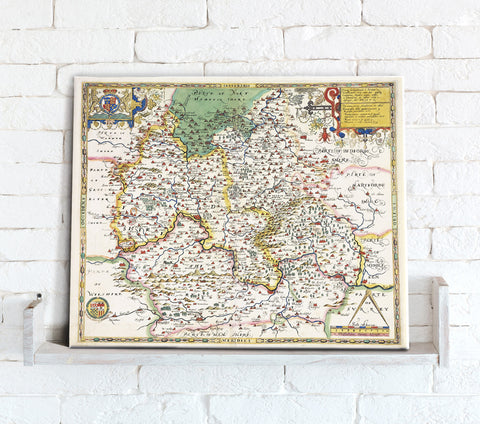 Map Canvas - Vintage County Map - Oxfordshire, Berkshire and Buckinghamshire