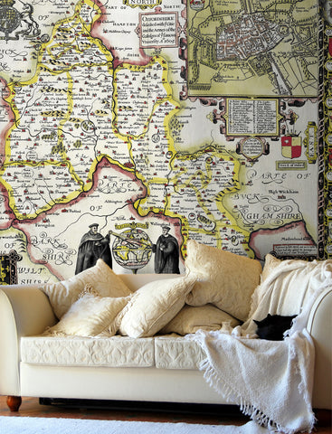 Map Wallpaper - Vintage County Map - Oxfordshire