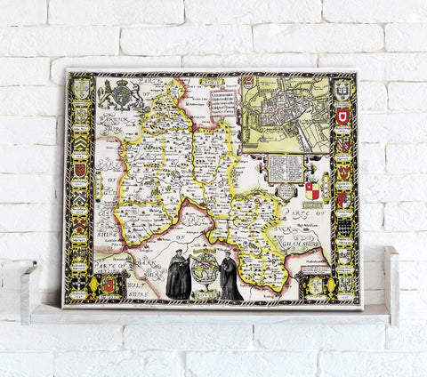 Map Canvas - Vintage County Map - Oxfordshire