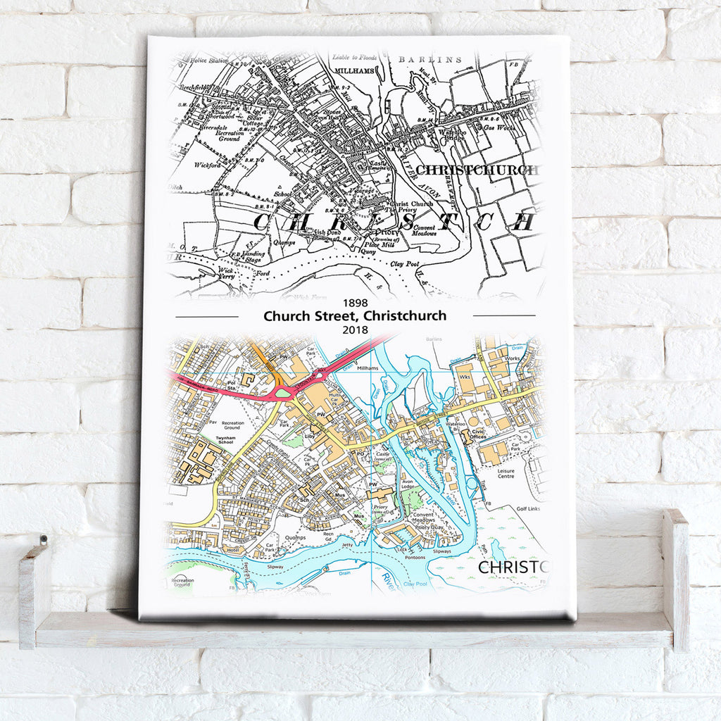 Map Canvas - Past to Present Canvas Print- Love Maps On...