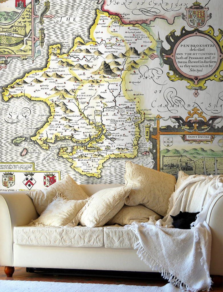 Map Wallpaper - Vintage County Map - Pembrokeshire - Love Maps On... - 1
