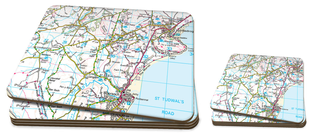Map Placemat and Coaster Set - Personalised Ordnance Survey Landranger Map