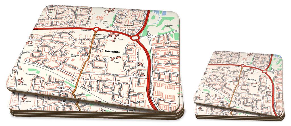 Map Placemat and Coaster Set - Personalised Ordnance Survey Street Map