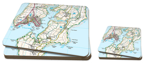 Map Placemat and Coaster Set - Personalised Ordnance Survey Explorer Map