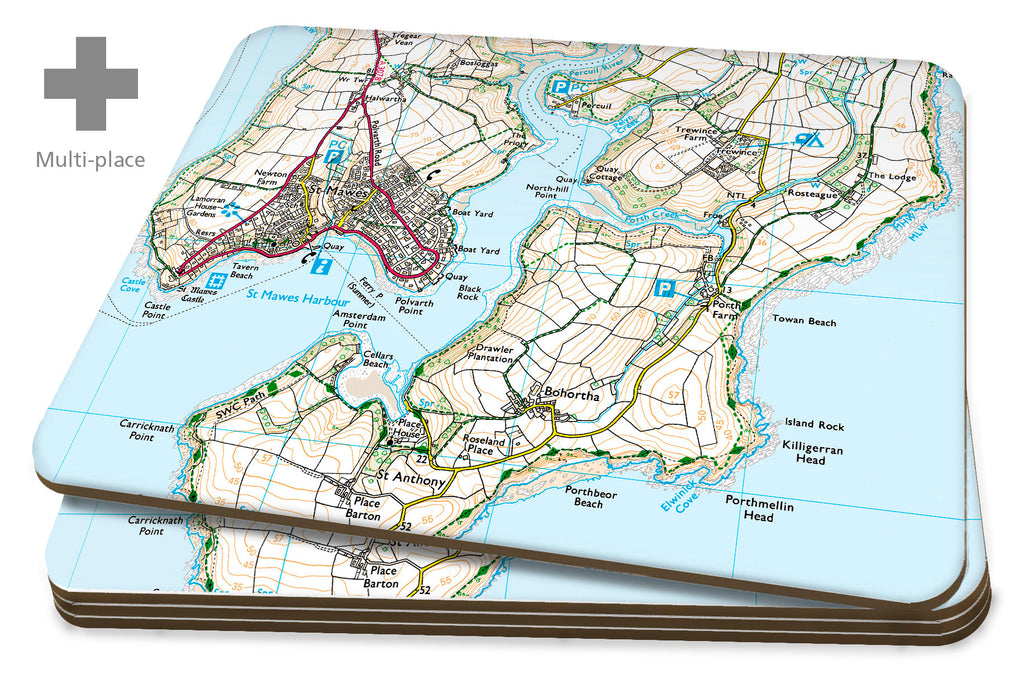 Map Placemats - Multi Place Personalised Ordnance Survey Explorer Map Placemats- Love Maps On...