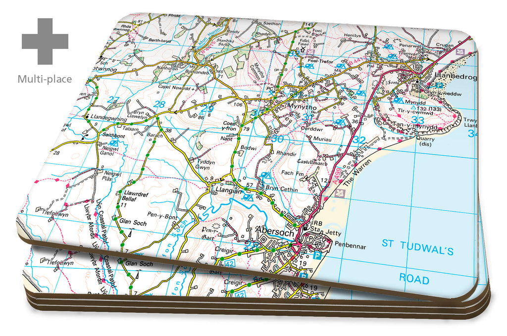 Map Placemats - Multi Place Personalised Ordnance Survey Landranger Map Placemats- Love Maps On...