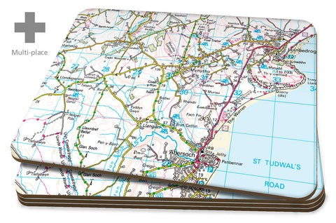 Map Placemats - 4 Multi Place Personalised Ordnance Survey Landranger Map