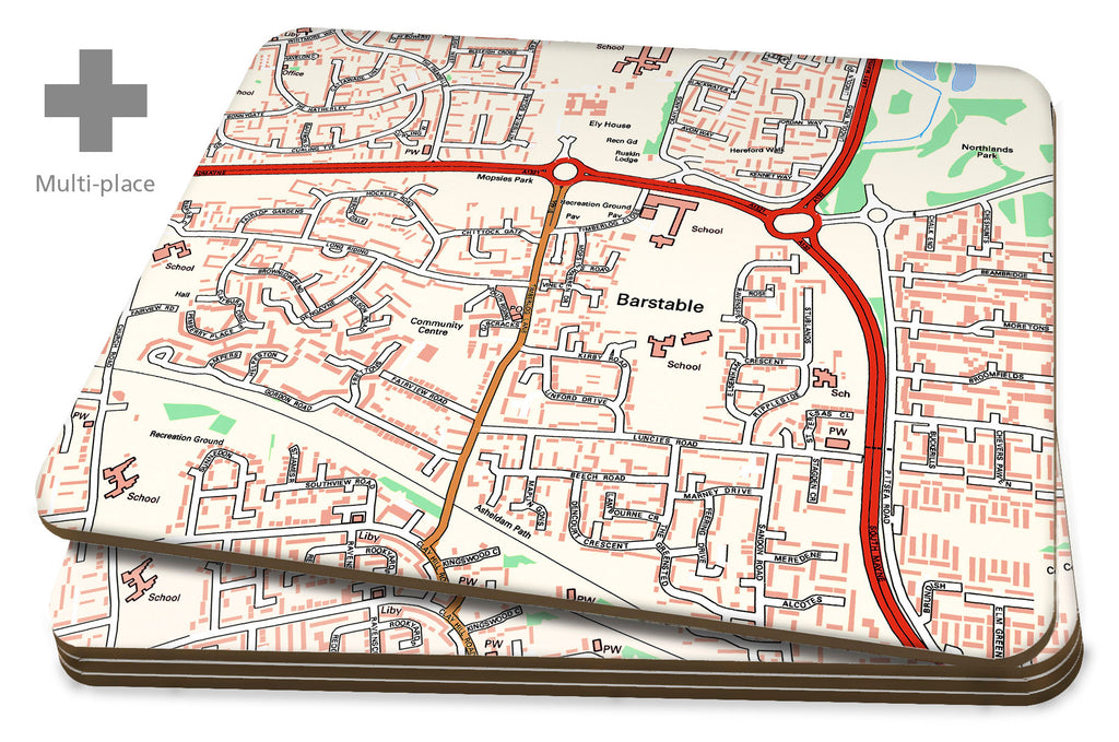 Map Placemats - Multi Place Personalised Ordnance Survey Street Map Placemats- Love Maps On...