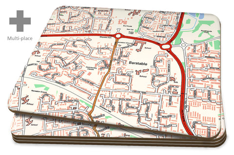 Map Placemats - 4 Multi Place Personalised Ordnance Survey Street Map
