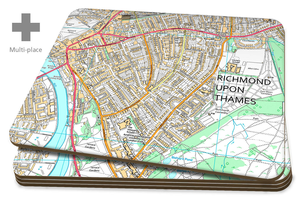 Map Placemats - 6 Multi Place Personalised OS High Detail Street Maps