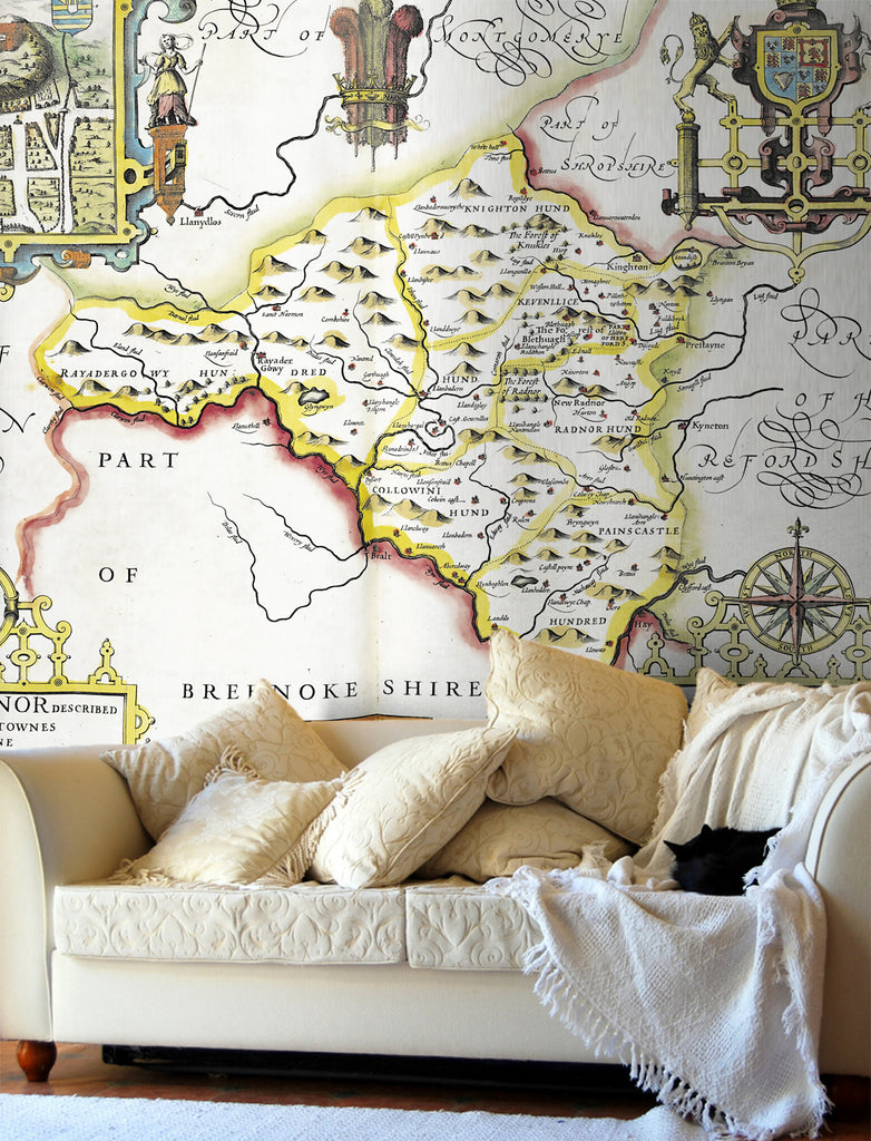 Map Wallpaper - Vintage County Map - Radnorshire - Love Maps On... - 1