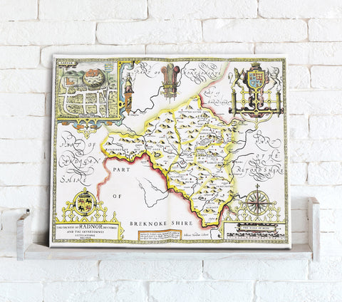 Map Canvas - Vintage County Map - Radnorshire