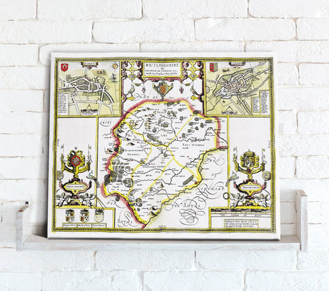 Map Canvas - Vintage County Map - Rutland