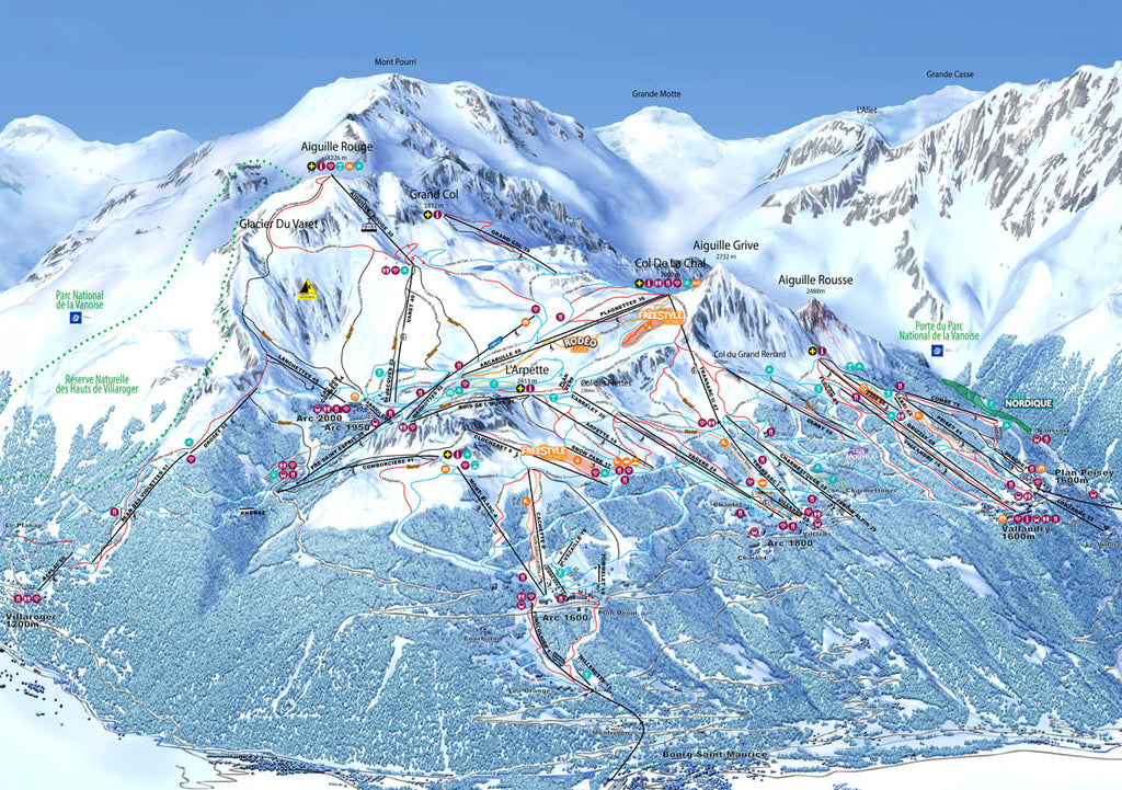 Piste Map Poster - Les Arcs Poster Print- Love Maps On...