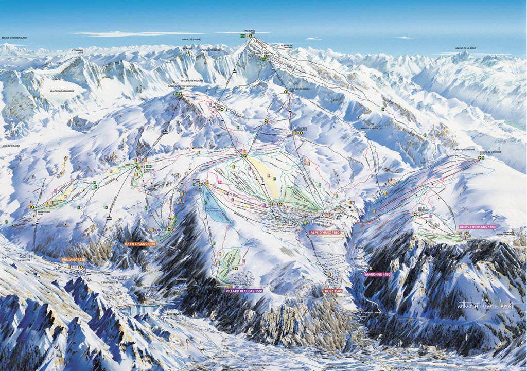 Piste Map Poster - Alpe d'huez Poster Print- Love Maps On...