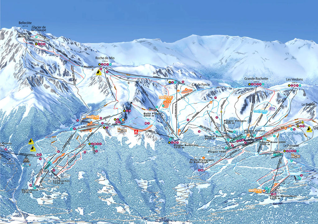 Piste Map Poster - La Plagne Poster Print- Love Maps On...