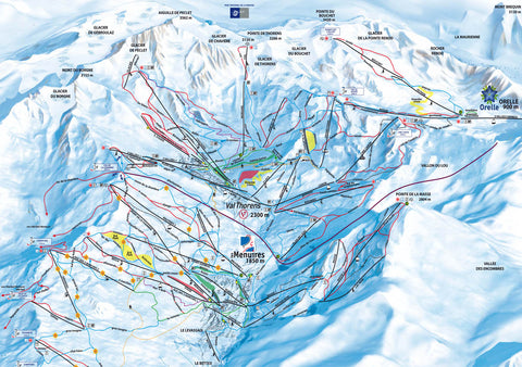Piste Map Poster - Val Thorens & Les Menuires