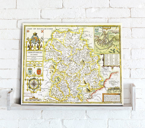 Map Canvas - Vintage County Map - Shropshire