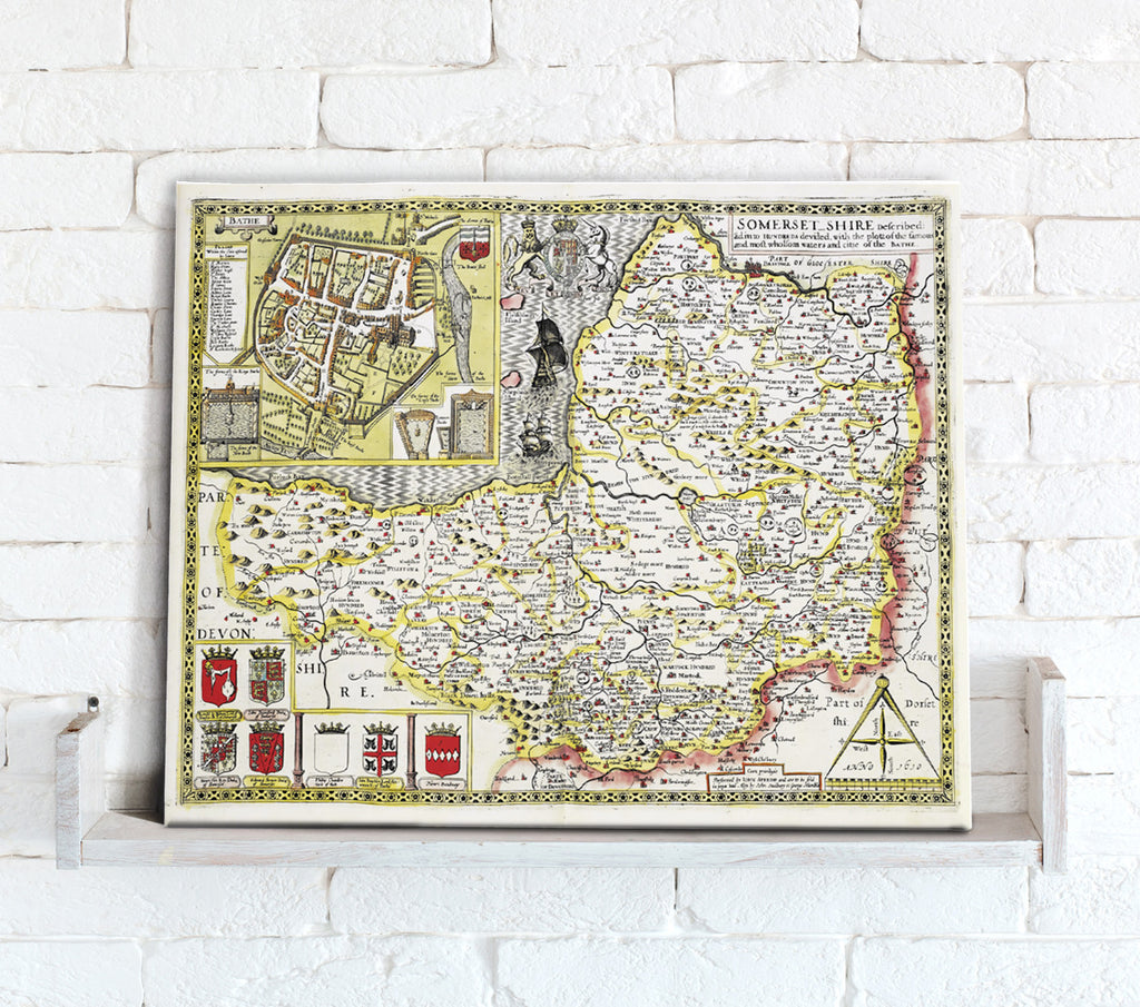 Map Canvas - Vintage County Map - Somerset - Love Maps On...