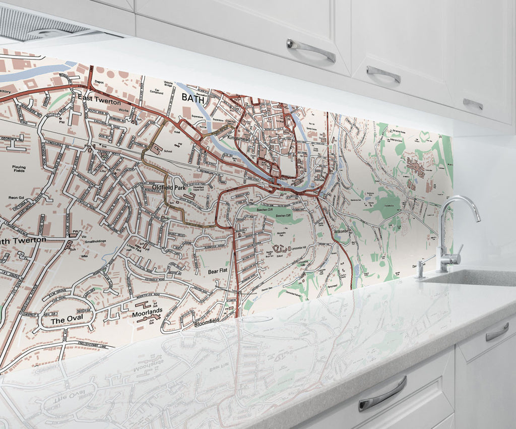 Acrylic Splashback - Custom Ordnance Survey Street Map Classic - Love Maps On...