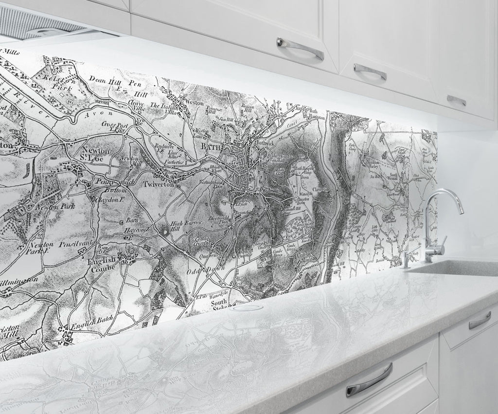 Acrylic Splashback - Custom Vintage Ordnance Survey Map - 1805-1874 (Old Series) - Love Maps On...