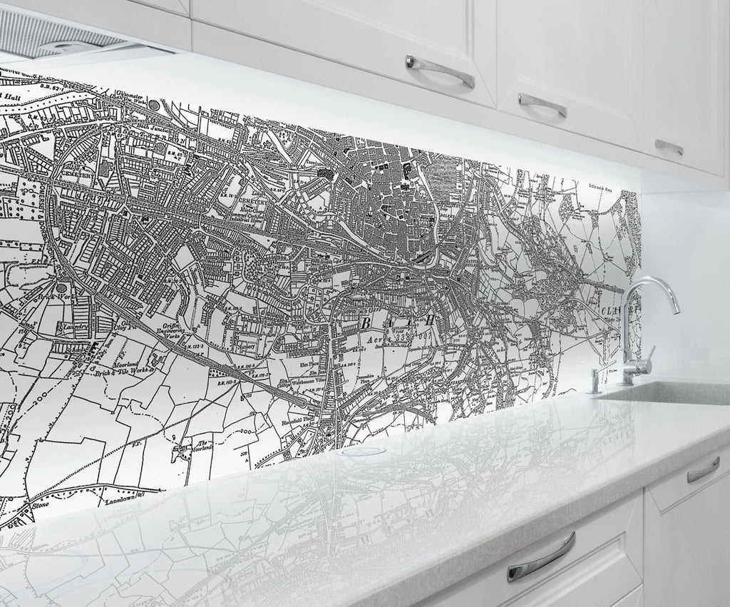Acrylic Splashback - Custom Vintage Ordnance Survey Victorian Street Map - Love Maps On...