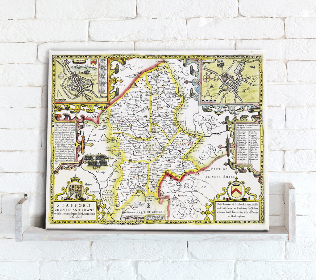 Map Canvas - Vintage County Map - Staffordshire - Love Maps On...