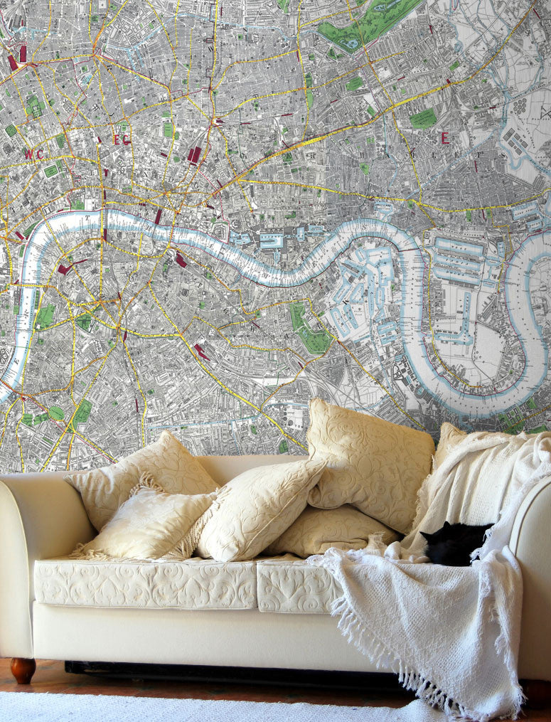 Map Wallpaper - London Streetmap - Stanford's Map of London 1891 - Love Maps On... - 1