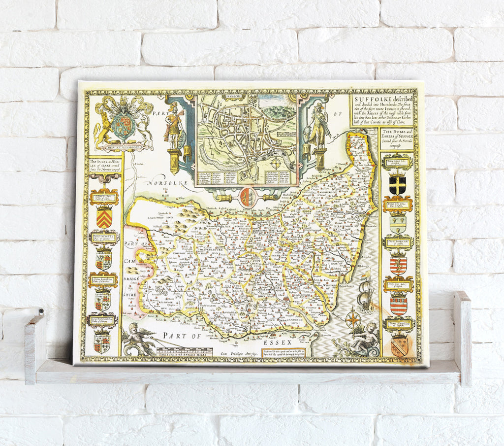 Map Canvas - Vintage County Map - Suffolk - Love Maps On...