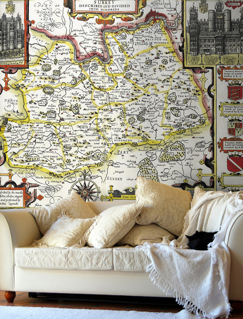 Map Wallpaper - Vintage County Map - Surrey - Love Maps On... - 1