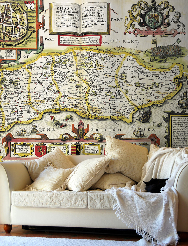 Map Wallpaper - Vintage County Map - Sussex - Love Maps On... - 1