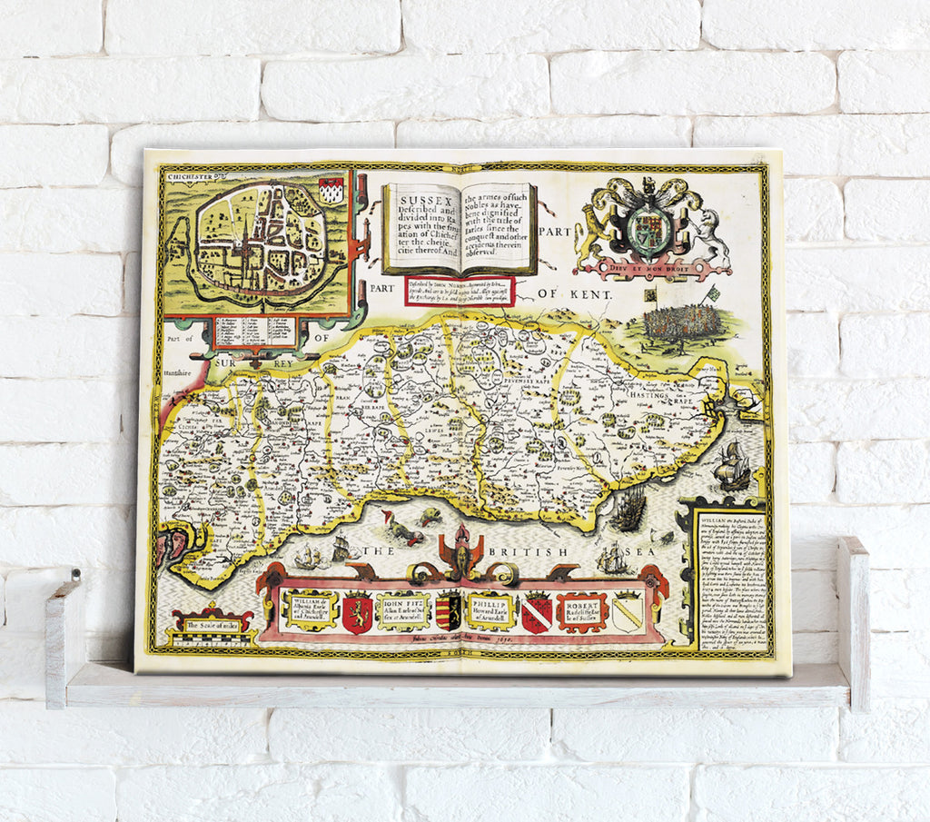 Map Canvas - Vintage County Map - Sussex - Love Maps On...