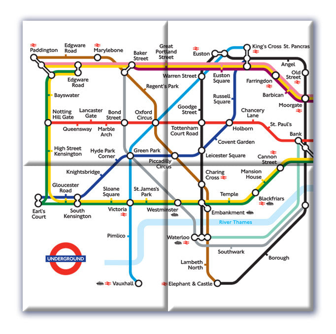 Ceramic Map Tiles - London Underground Map from Love Maps On...