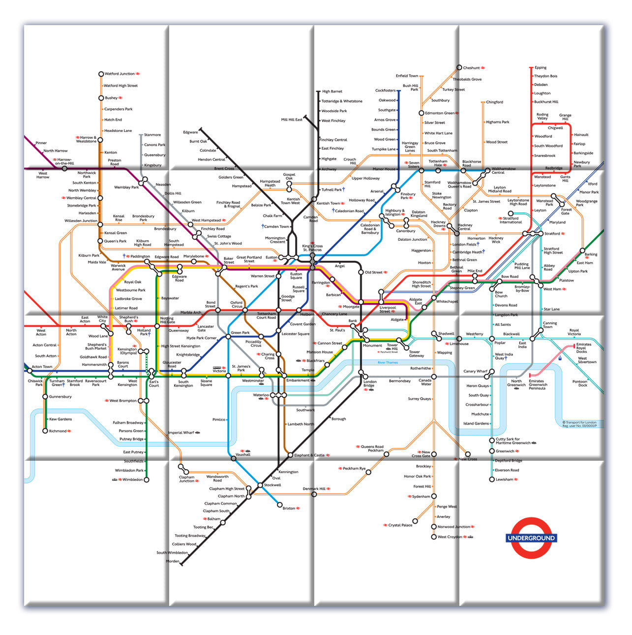Ceramic Map Tiles London Underground Map from Love Maps On