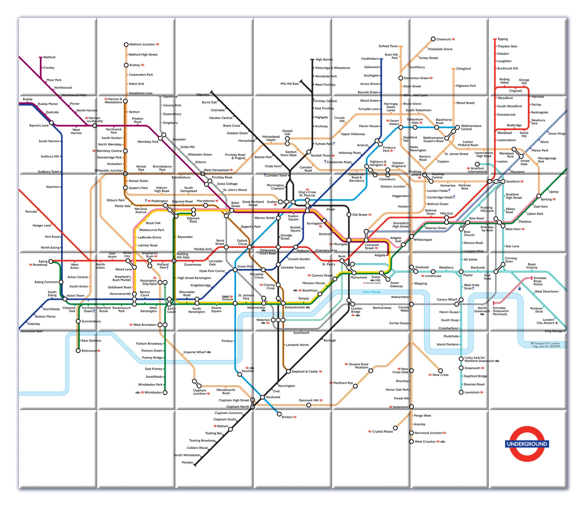 London Tube Map Framed